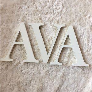 "Pottery Barn 8"" A V A letters"
